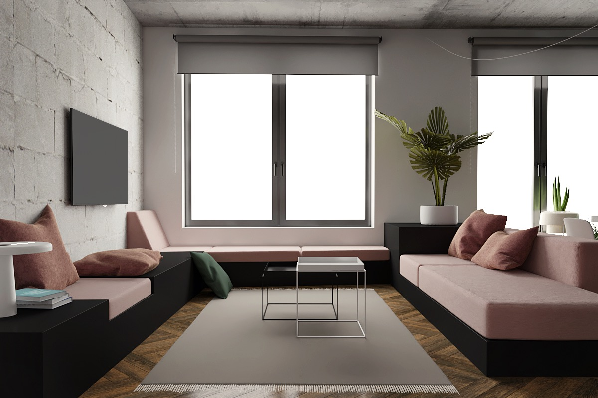Muted Pink And Green Decor Color Scheme - 5 studio apartments with inspiring modern decor themes