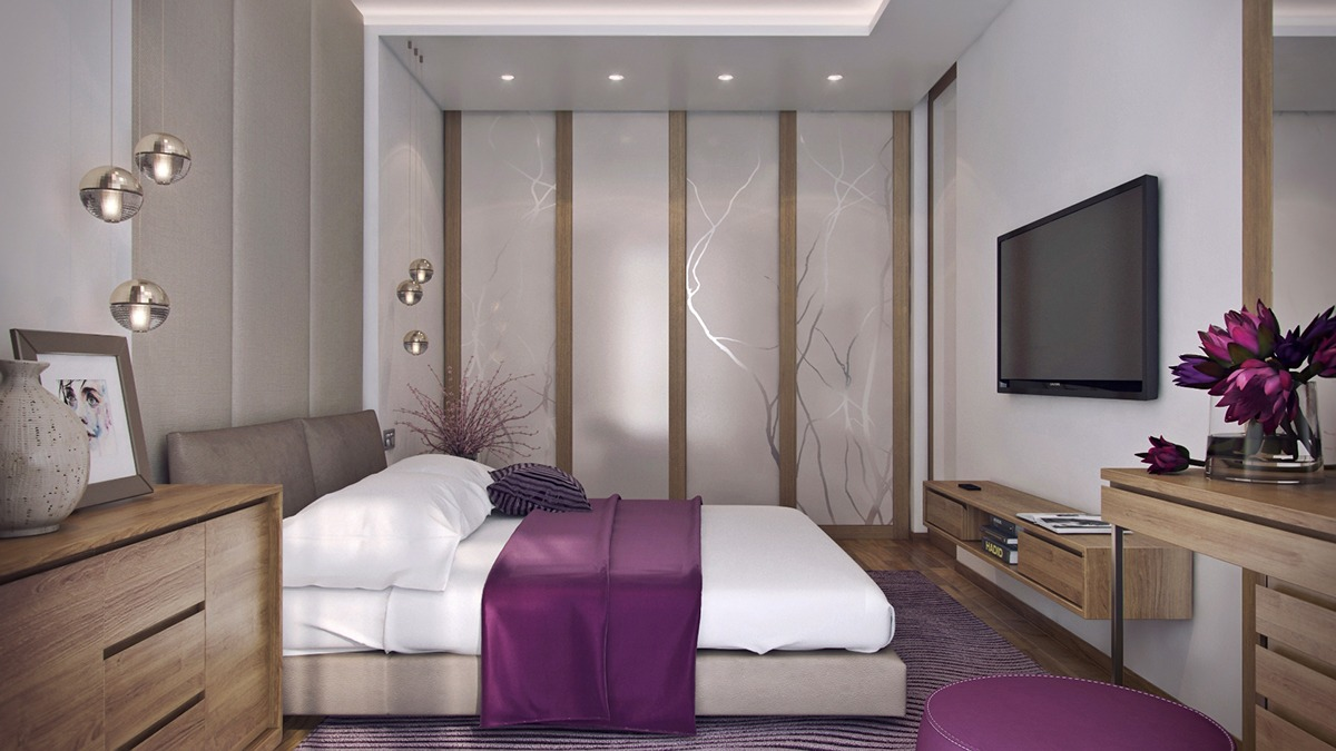 Nature Inspired Purple Bedroom Decor - 3 one bedroom apartments under 750 square feet 70 square metres includes layouts