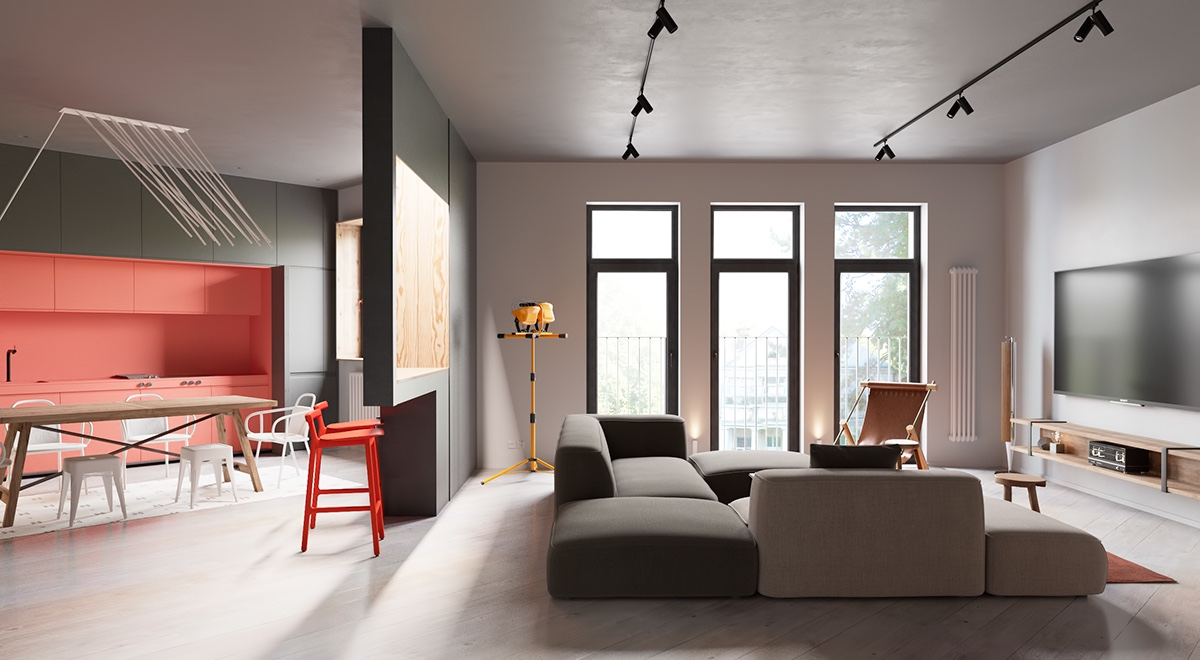 Open Floor Plan Design - A sleek apartment the divides rooms creatively
