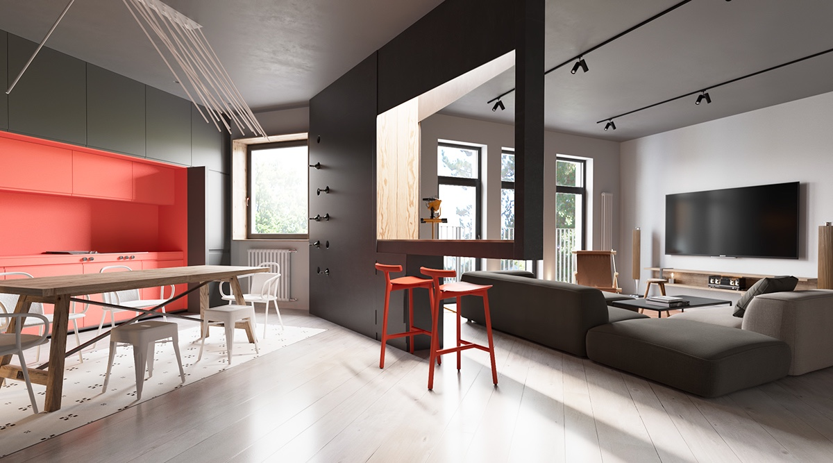 Open Kitchen Design - A sleek apartment the divides rooms creatively