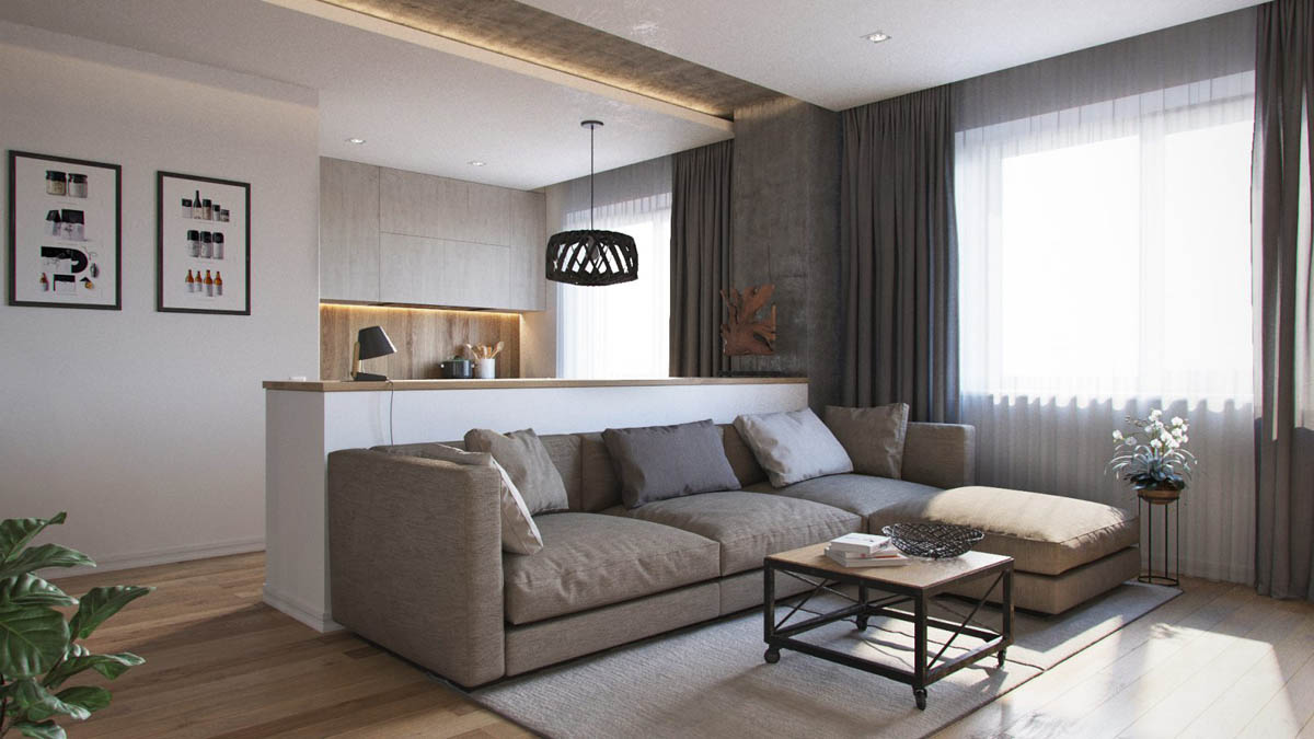 Open Living Room And Kitchen Apartment Design - 3 one bedroom apartments under 750 square feet 70 square metres includes layouts