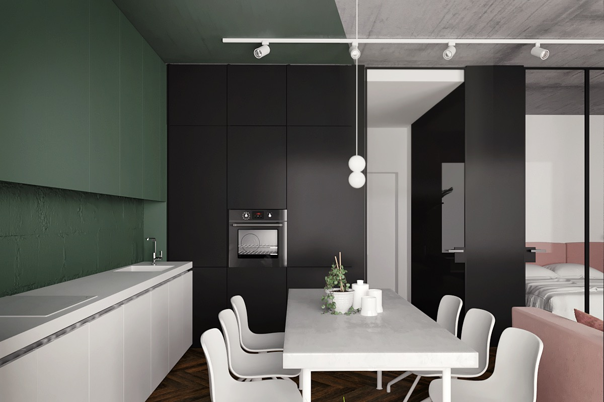 Pink Green White And Black Interior Color Scheme - 5 studio apartments with inspiring modern decor themes