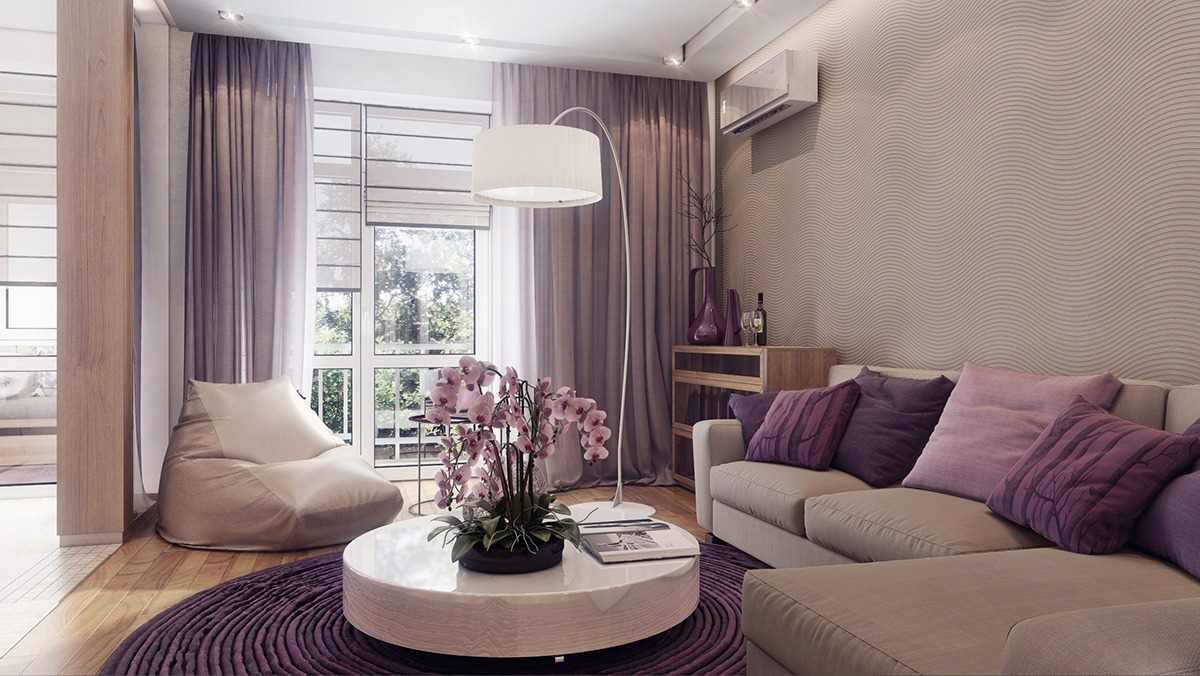 Purple And Tan Interior Decor Theme - 3 one bedroom apartments under 750 square feet 70 square metres includes layouts