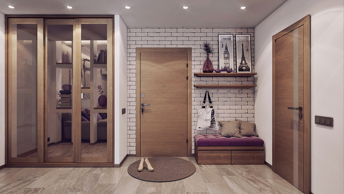 Purple And Wood Apartment Entryway Design - 3 one bedroom apartments under 750 square feet 70 square metres includes layouts