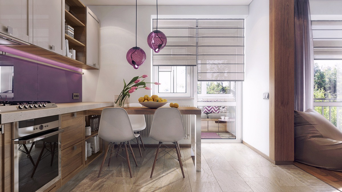 Purple Kitchen And Dining Room Ideas - 3 one bedroom apartments under 750 square feet 70 square metres includes layouts