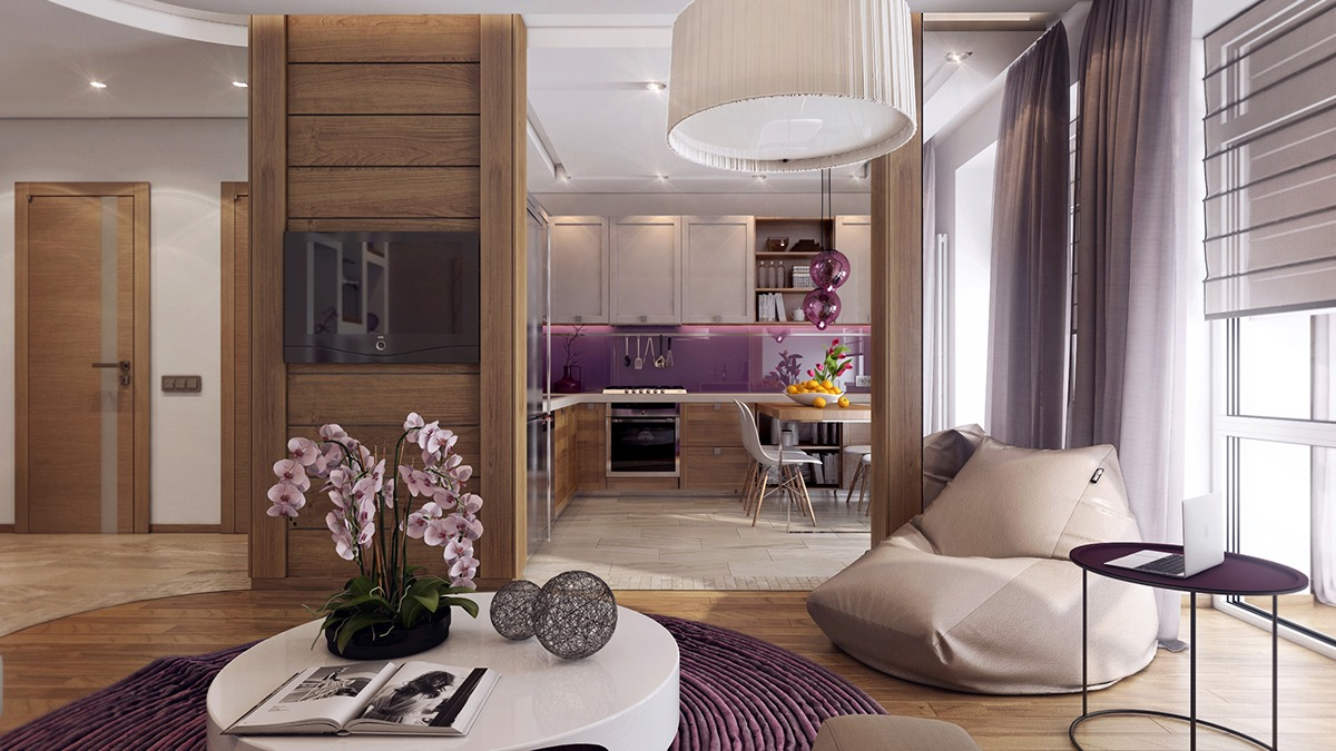 Purple Kitchen Design Inspiration - 3 one bedroom apartments under 750 square feet 70 square metres includes layouts