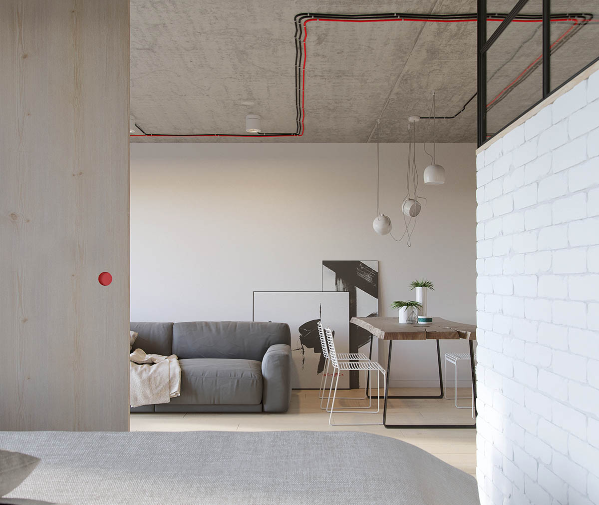 Red And Black Feature Wiring Exposed Brick Wall Industrial Apartment - Industrial russian interior with quirky colour twists including floor plans