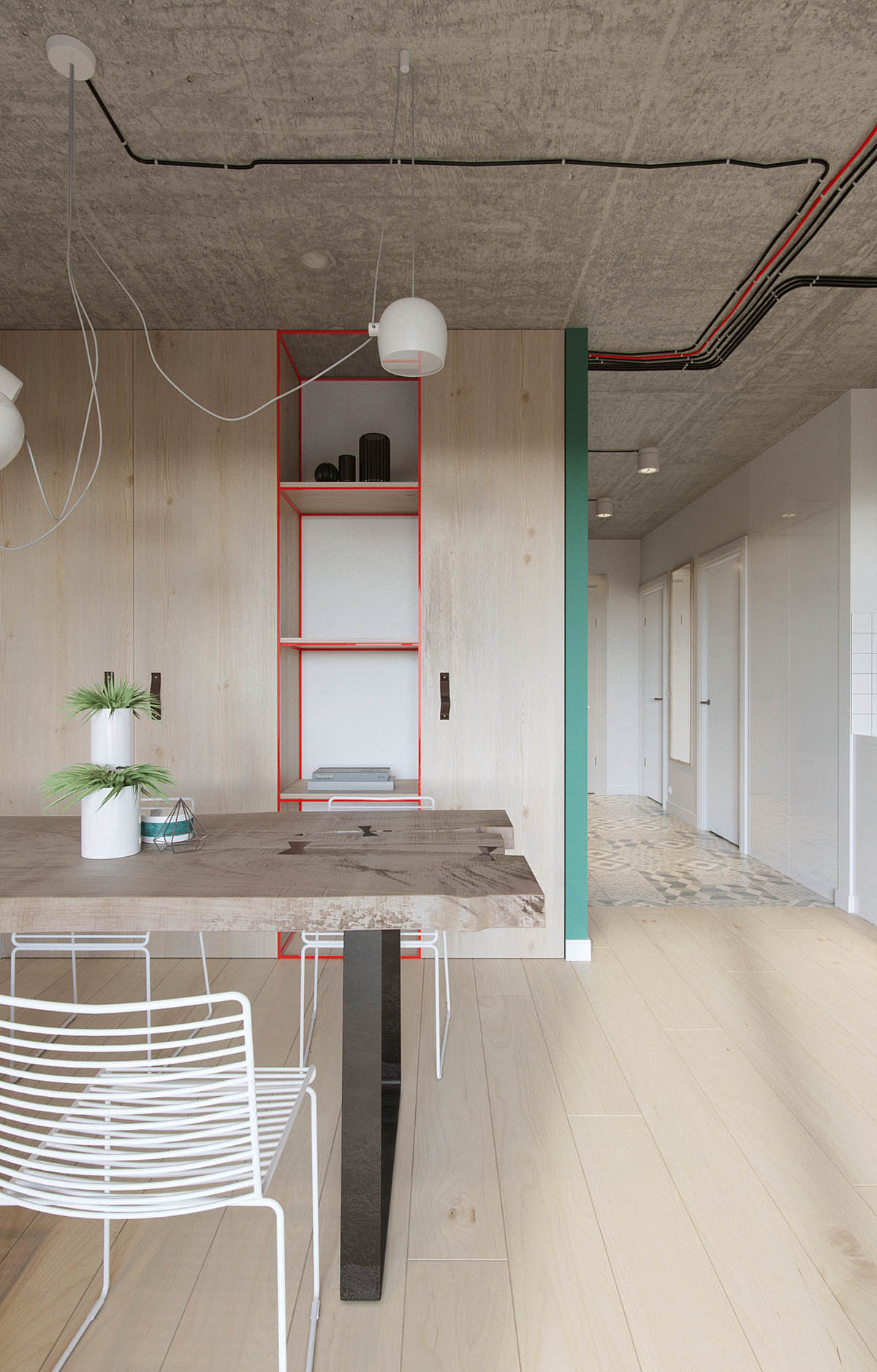 Red And Black Wiring Concrete Ceiling Industrial Apartment - Industrial russian interior with quirky colour twists including floor plans