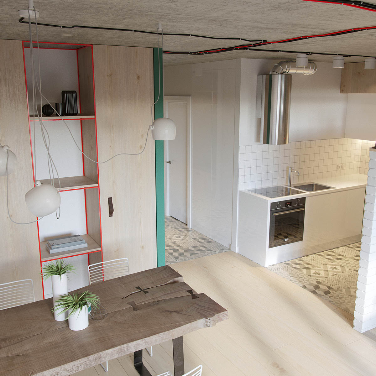 Red And Green Colour Ways Wooden Floor Modern Russian Apartment - Industrial russian interior with quirky colour twists including floor plans