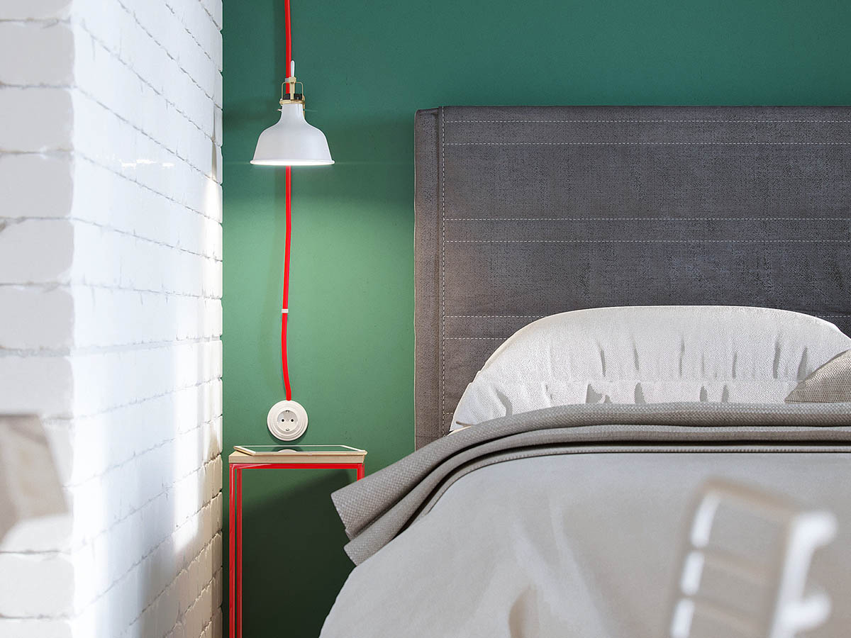 Red And White Industrial Light Modern Russian Bedroom - Industrial russian interior with quirky colour twists including floor plans