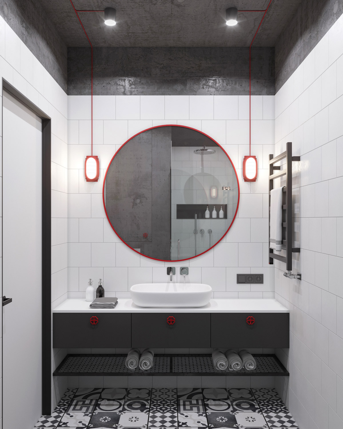 Red Industrial Accents In White And Grey Bathroom Decor - 5 studio apartments with inspiring modern decor themes