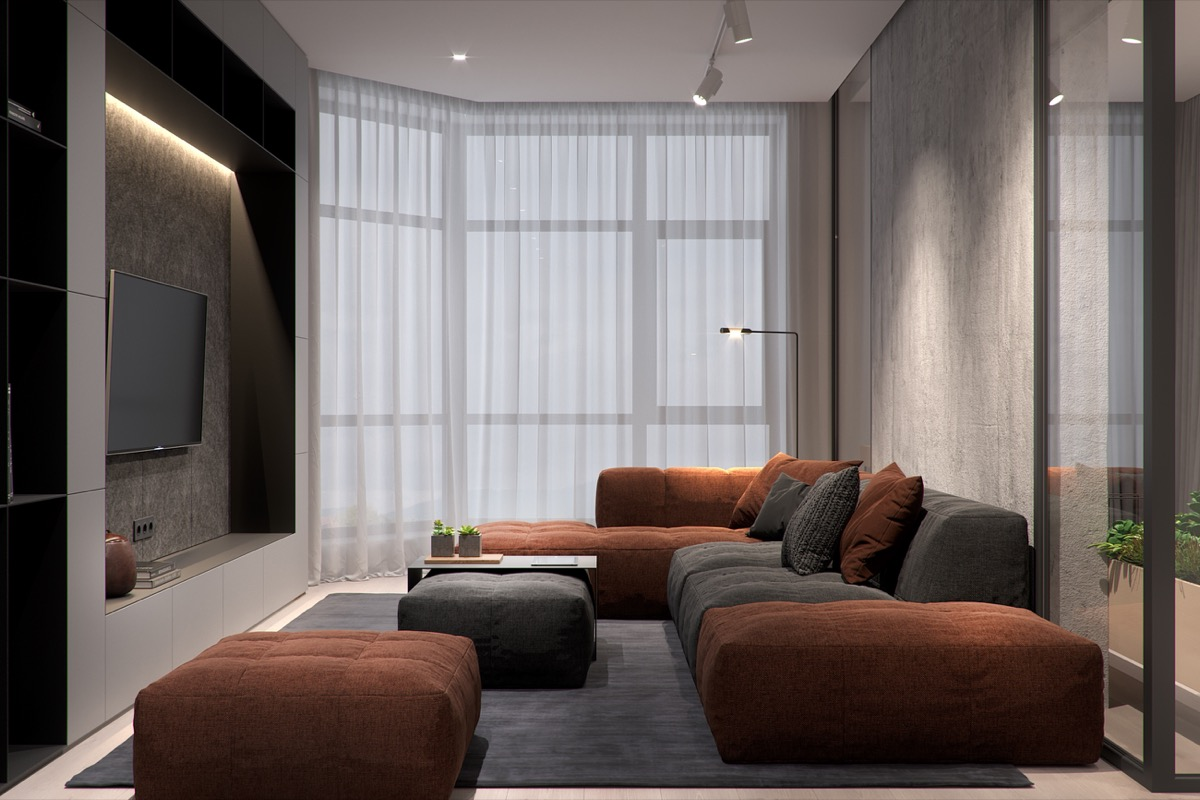 Rust Color Sofa - 5 studio apartments that use space splendidly