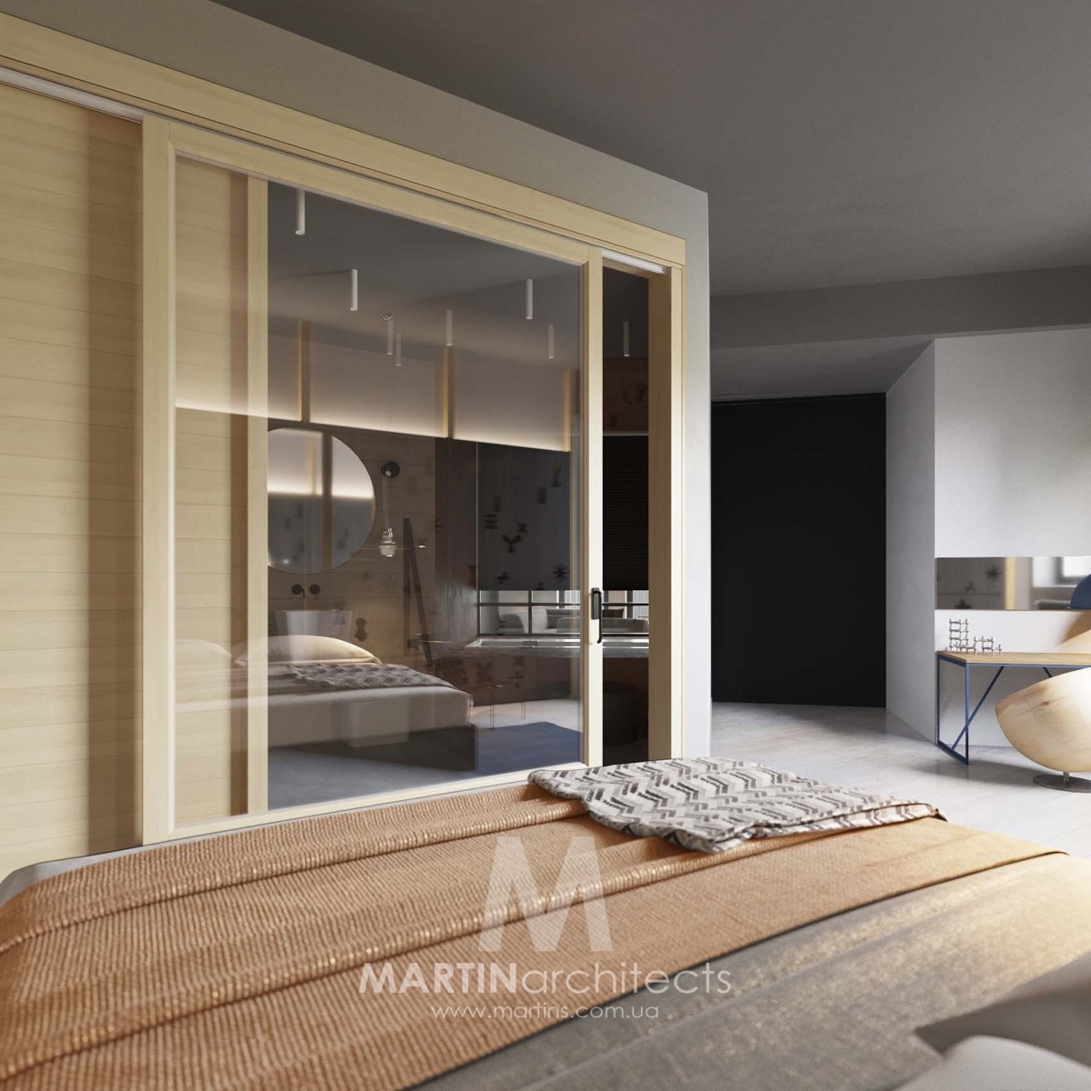 Simple Bedroom Design - A sleek apartment the divides rooms creatively