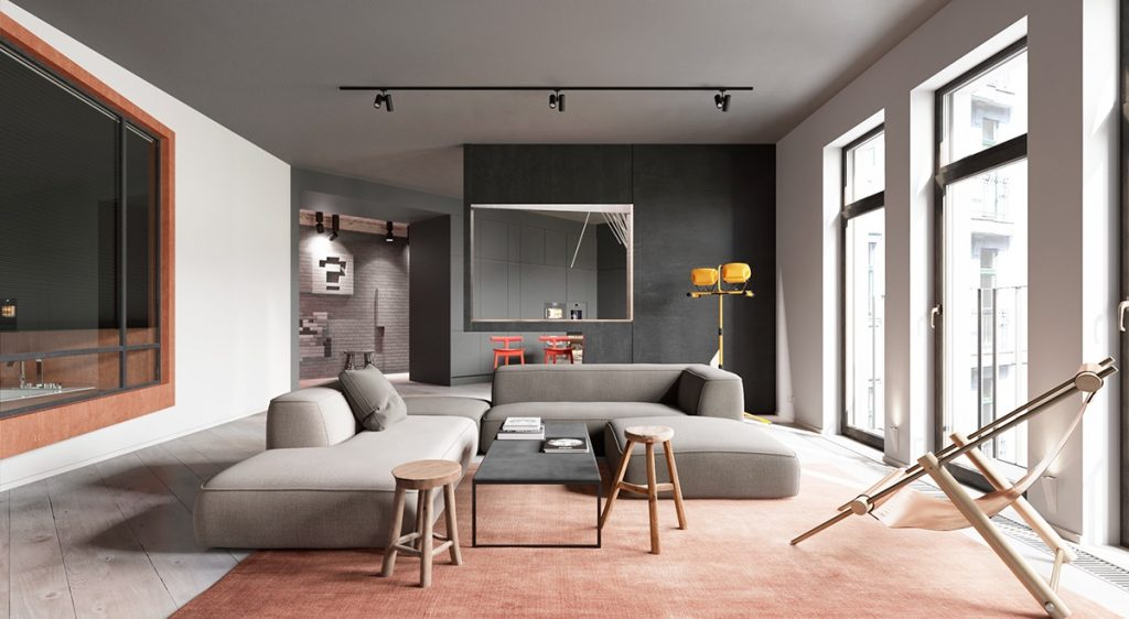 A sleek apartment the divides rooms creatively A sleek apartment the divides rooms creatively