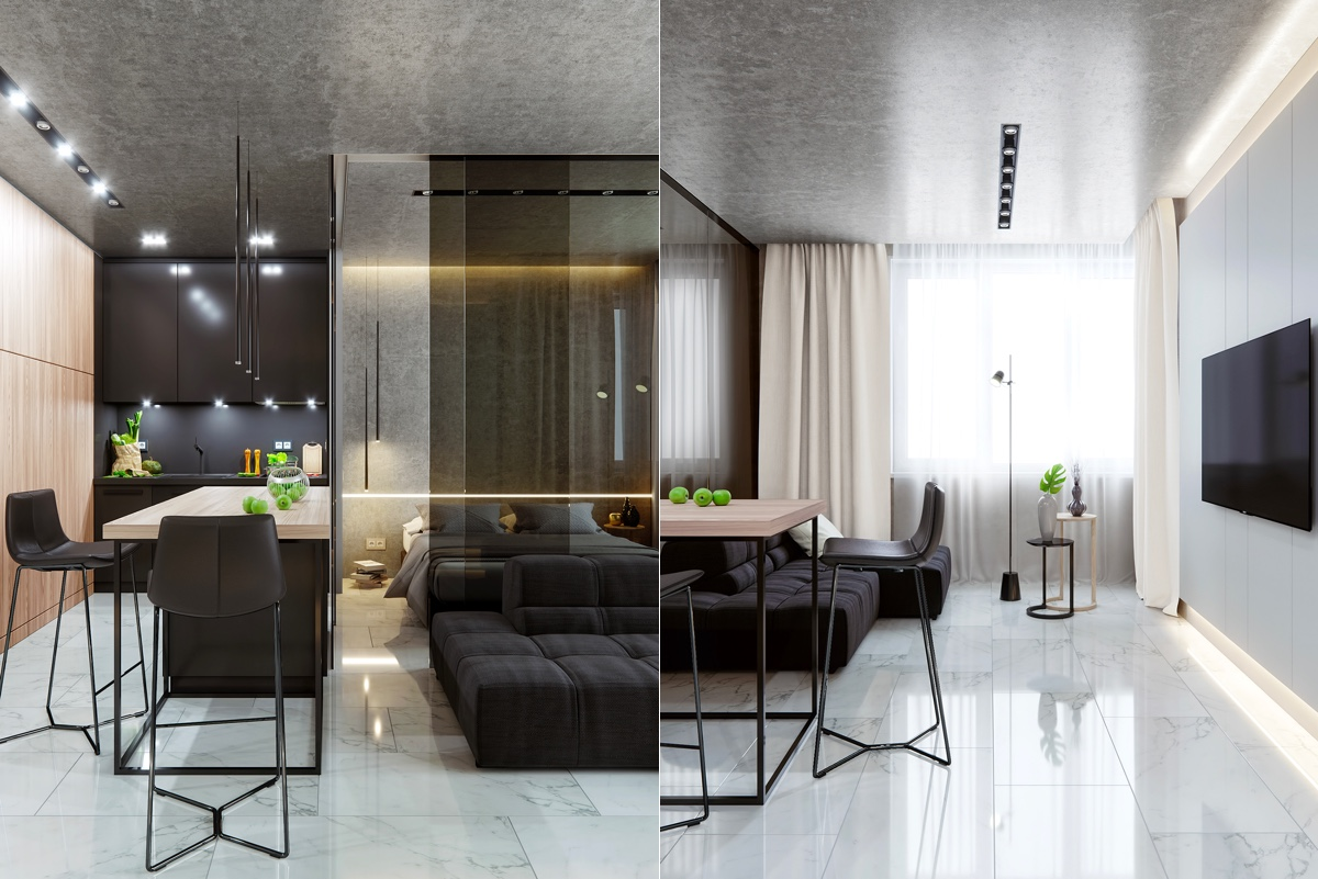 Sleek Luxury Studio Apartment With Black And Marble Decor - 5 studio apartments with inspiring modern decor themes