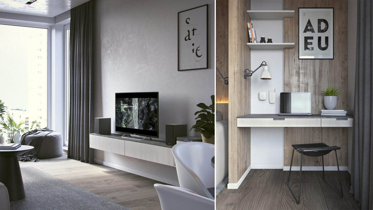 Small Apartment Home Office Desk With Planters - 3 one bedroom apartments under 750 square feet 70 square metres includes layouts