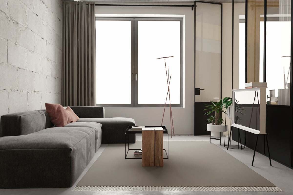 Small Apartment Interior With Unique Plant Stands - 5 studio apartments with inspiring modern decor themes