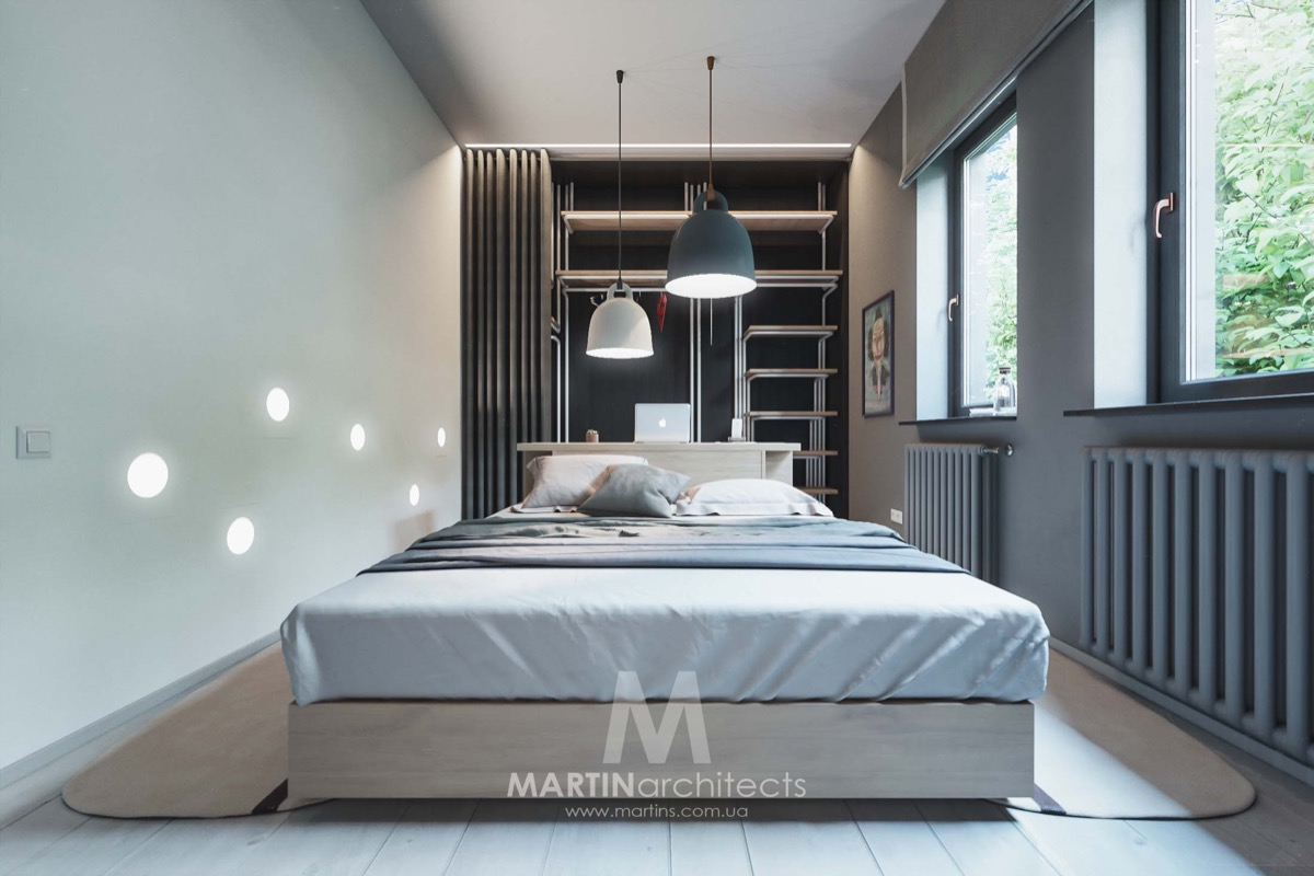 Small Gray Bedroom - A sleek apartment the divides rooms creatively