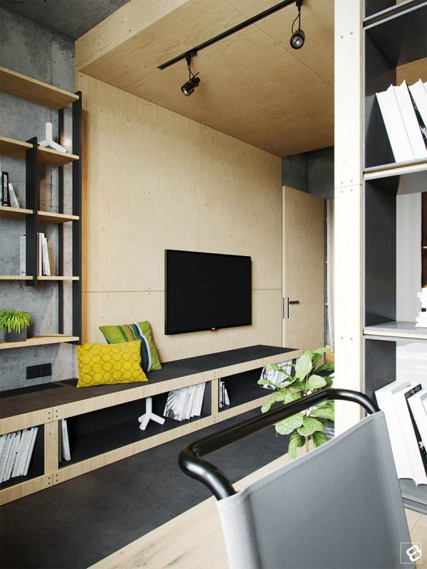 Space For Sitting, Storage, Entertainment, And Comfort Is All Present And  Accounted For In This Cozy Townhouse. A Black Shower With Wood ...