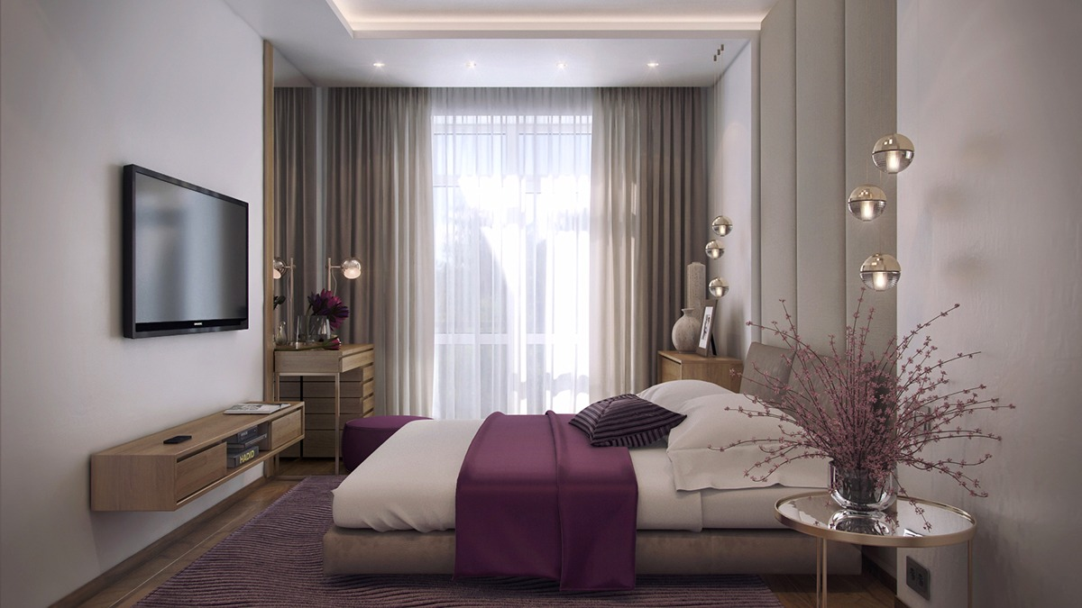 Subtle Floral Inspired Bedroom Design - 3 one bedroom apartments under 750 square feet 70 square metres includes layouts