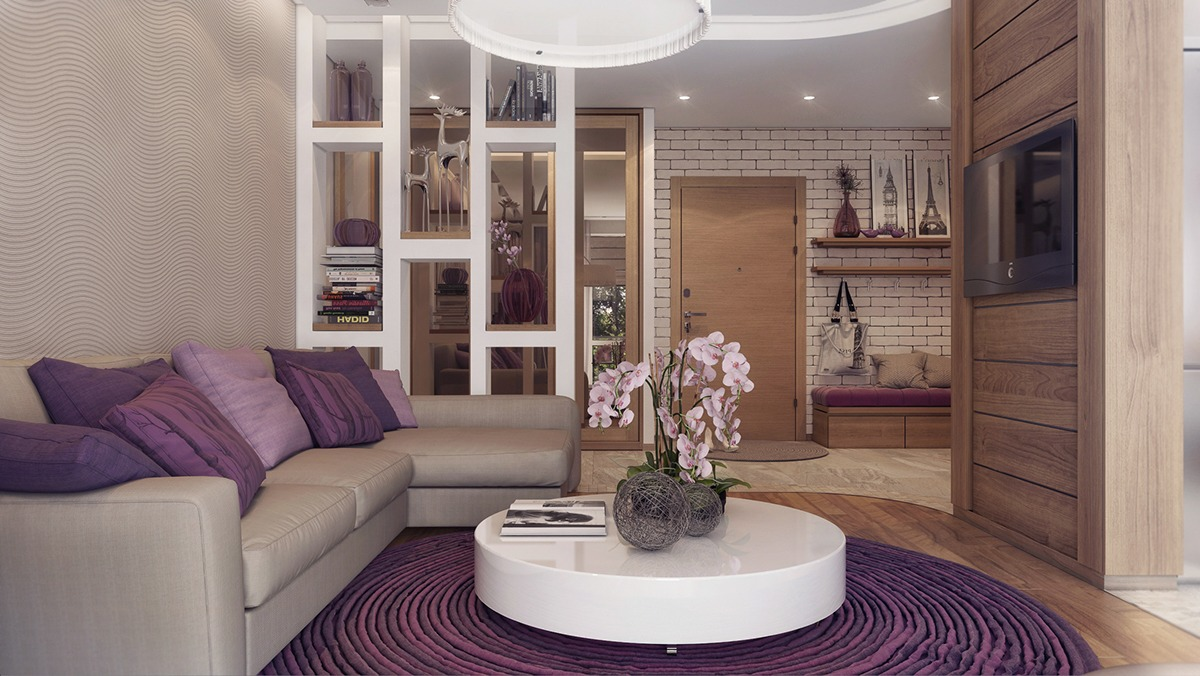 Vivid Lilac Apartment Interior Decor - 3 one bedroom apartments under 750 square feet 70 square metres includes layouts