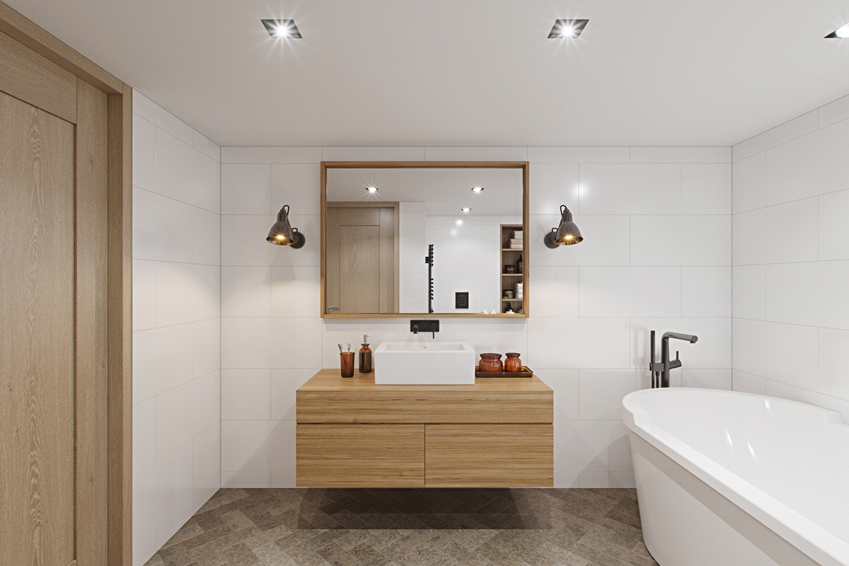 White And Wood Apartment Bathroom - 3 fabulous apartment designs with lofted bedrooms