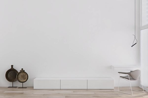 When It Comes To Minimalism It Is Difficult To Beat White On White. A Small  Bench All But Disappears Into The Expanse Of The Vast White Wall.