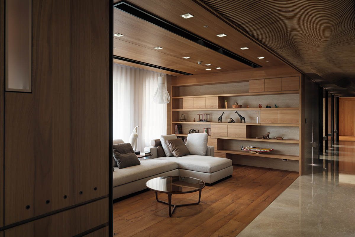 White Sectional - 4 homes with design focused on beautiful wood elements
