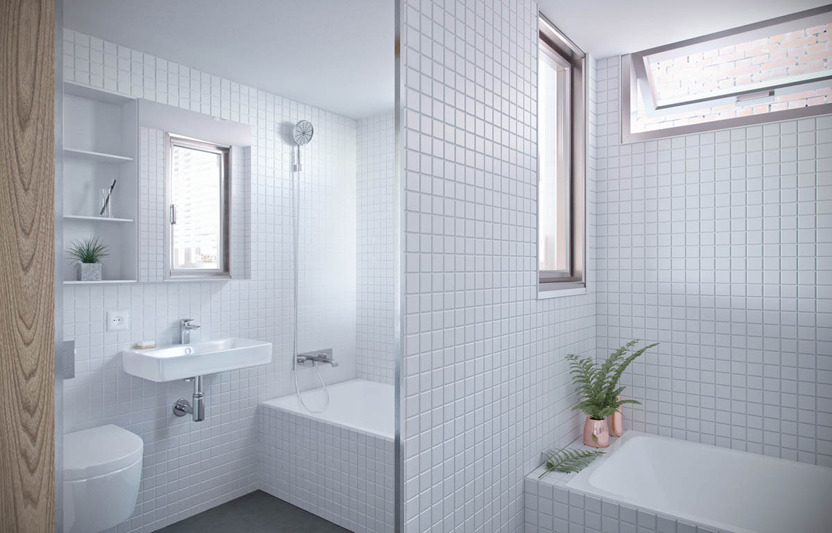 White Tile Bath - 4 studios that make beautiful use of natural light