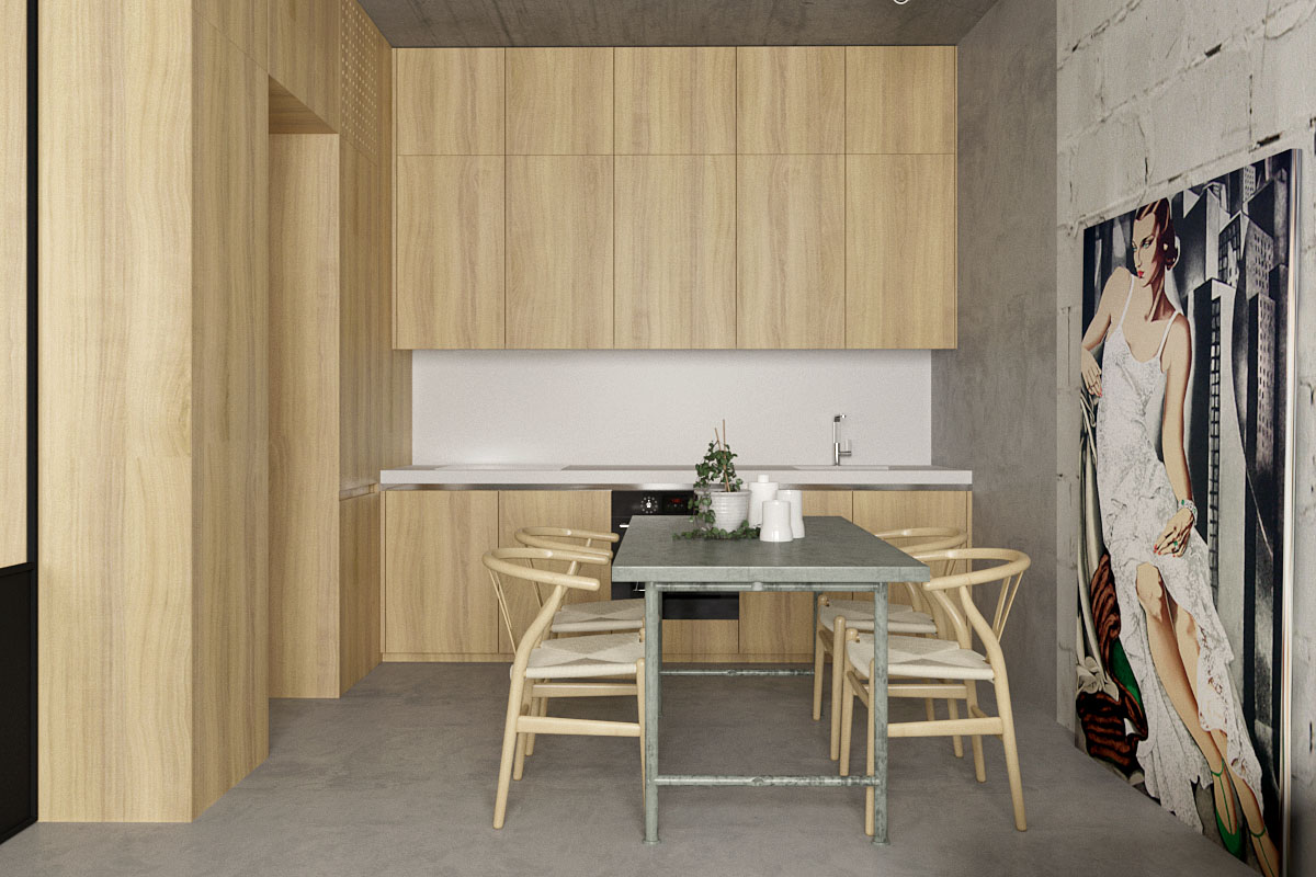 Wide Wood Panels For Natural Apartment Kitchen - 5 studio apartments with inspiring modern decor themes