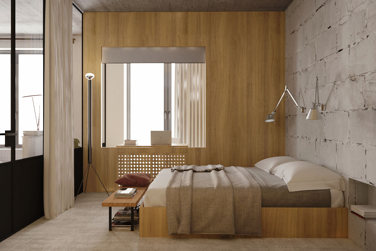 Wood And Cinder Block Bedrom Decor - 5 studio apartments with inspiring modern decor themes