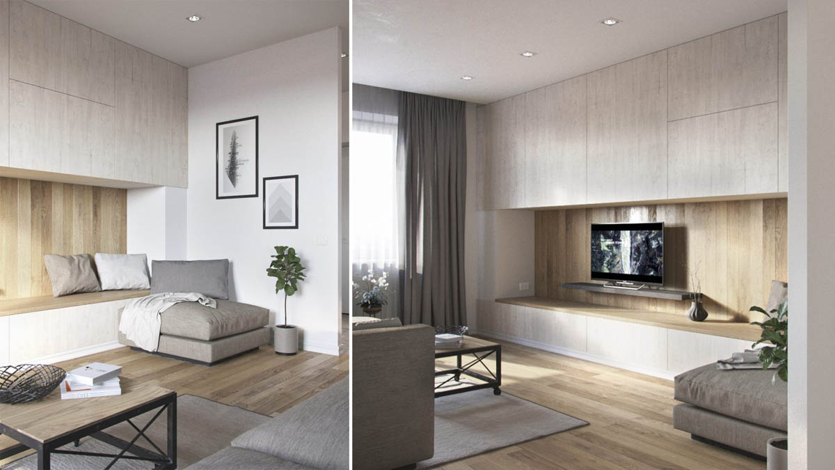 Wood White And Grey Living Room Design - 3 one bedroom apartments under 750 square feet 70 square metres includes layouts