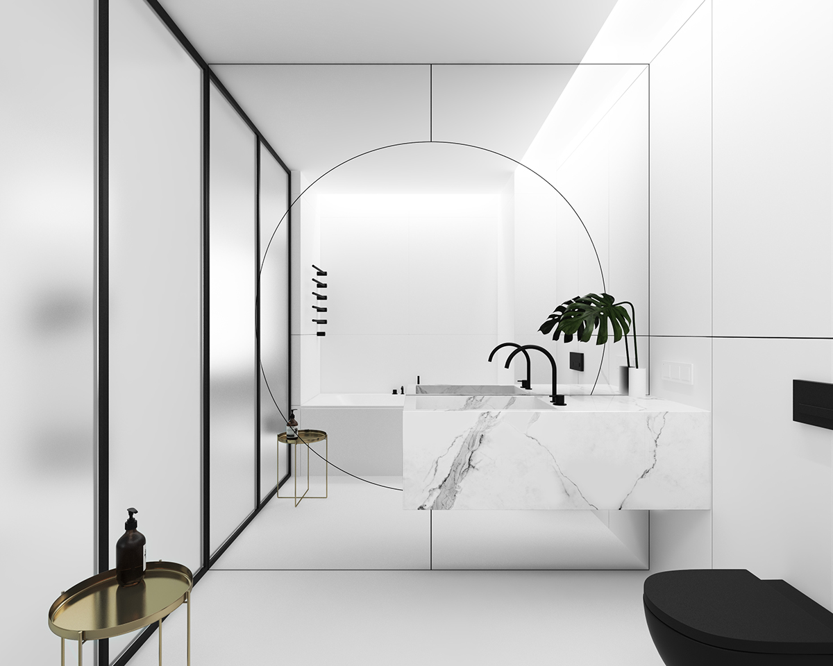 Beautiful Bathroom Wide Circle Targe Mirror - 3 light and bright apartments celebrating white space