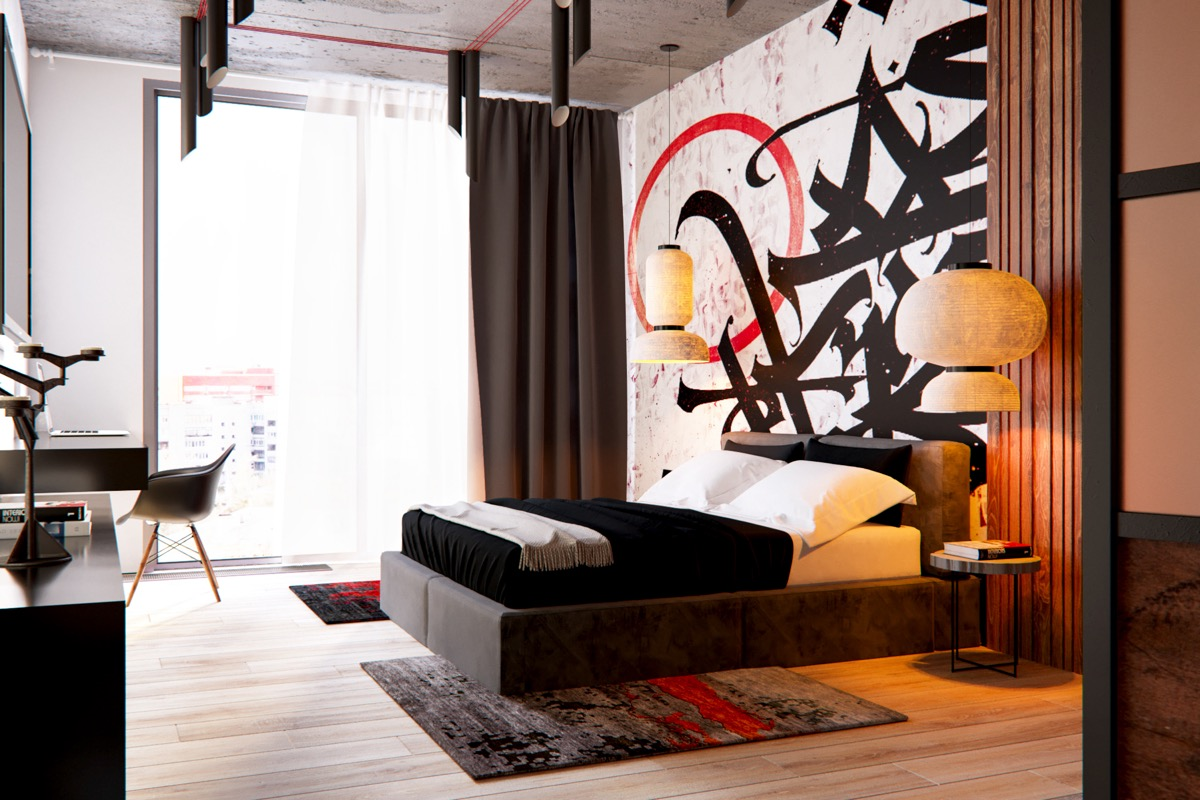 Bedroom Pendant Lights - 3 modern apartment interiors that masterfully demonstrate how to use red as an artistic accent