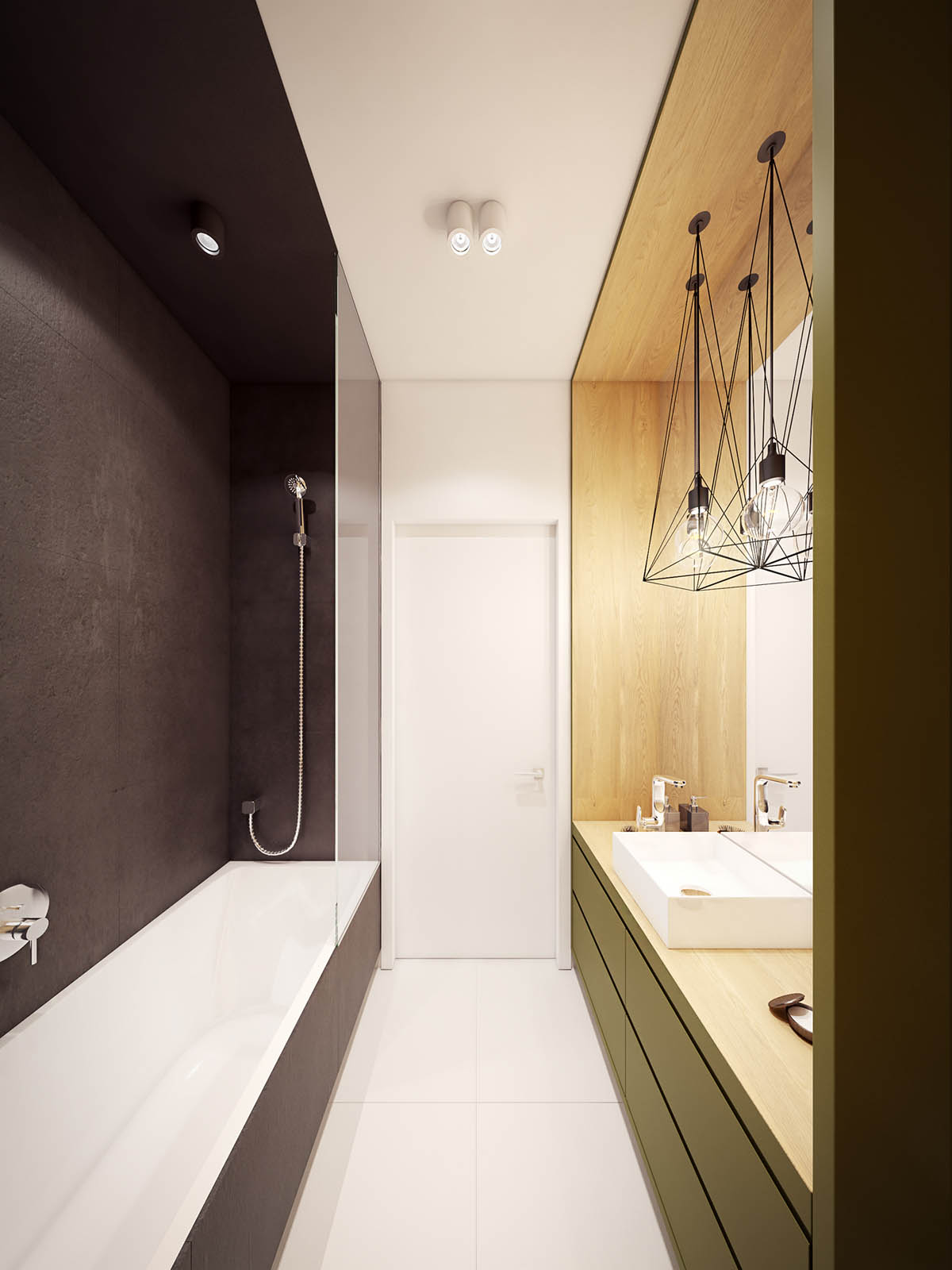 A comfortable modern home with colorful accents for Green and black bathroom ideas