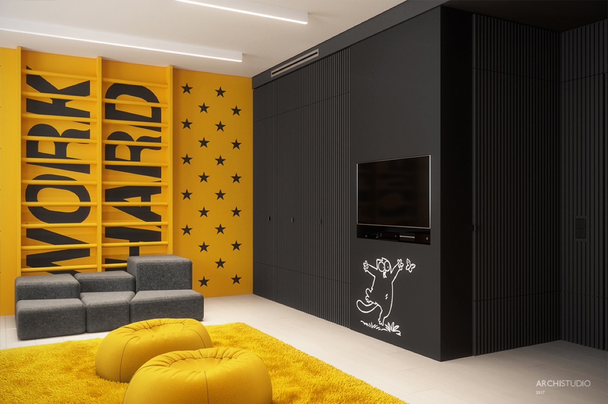 Black And Yellow - Dark themed kids rooms