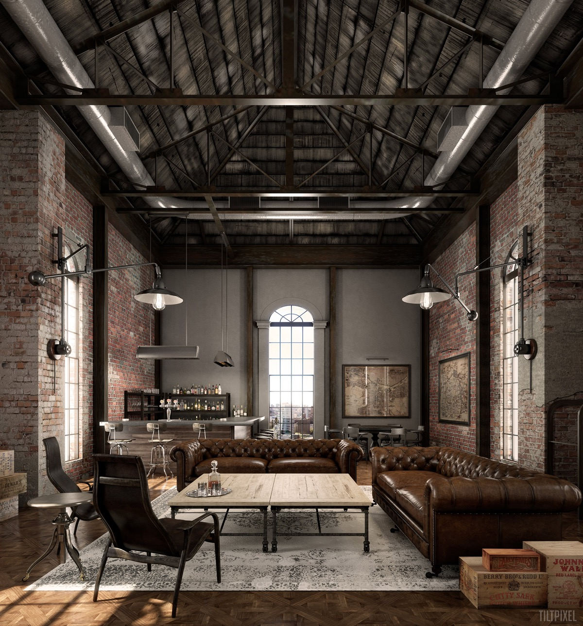 industrial style living room design the essential guide. Black Bedroom Furniture Sets. Home Design Ideas