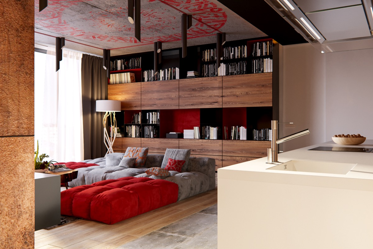 Ceiling Design - 3 modern apartment interiors that masterfully demonstrate how to use red as an artistic accent