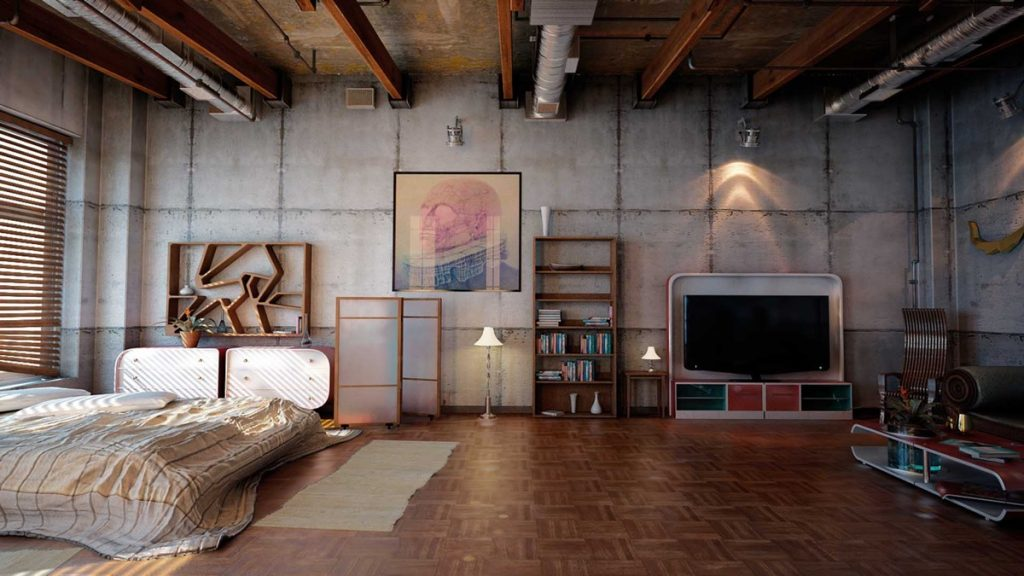 Rustic Elements Incorporated Into An Industrial Bedroom:
