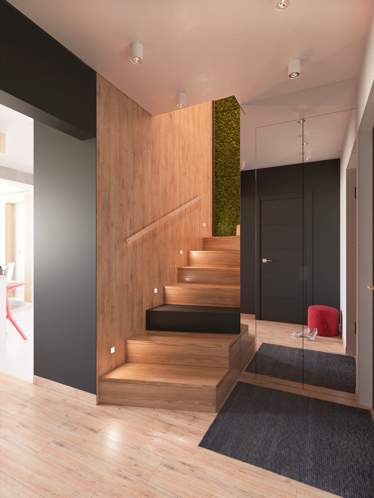 Dark Flooring Accent - 3 modern apartment interiors that masterfully demonstrate how to use red as an artistic accent