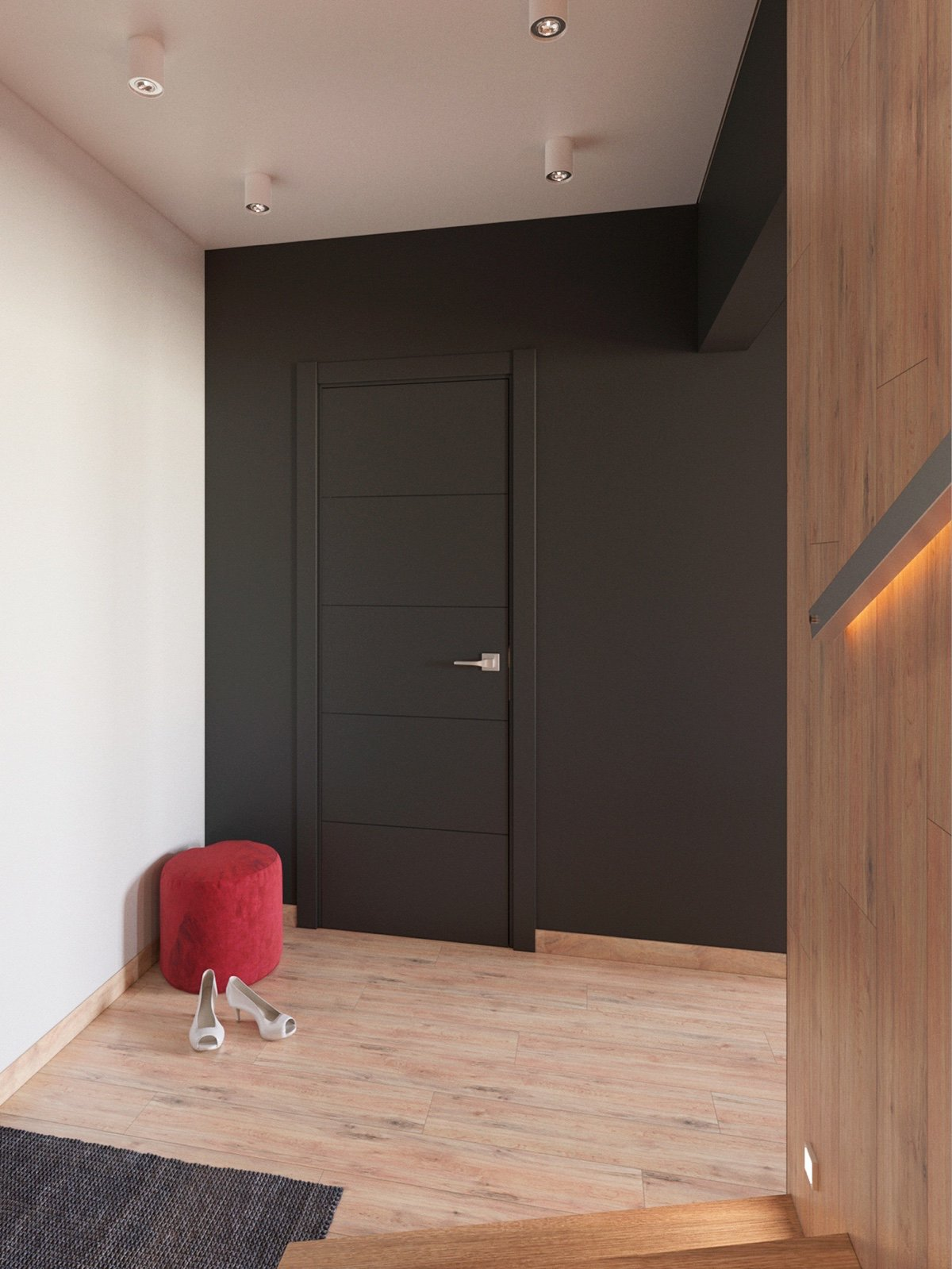 Dark Gray Wall - 3 modern apartment interiors that masterfully demonstrate how to use red as an artistic accent