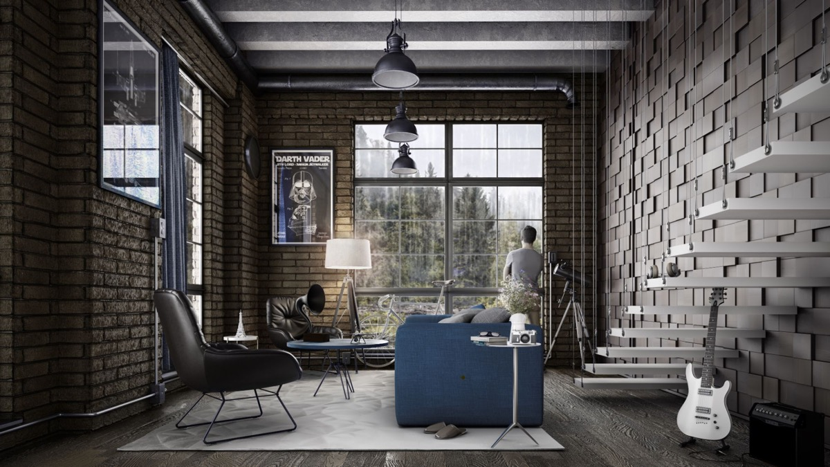 19 Industrial Style Living Room Design