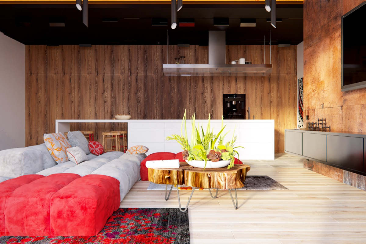 Dark Wood Walls - 3 modern apartment interiors that masterfully demonstrate how to use red as an artistic accent