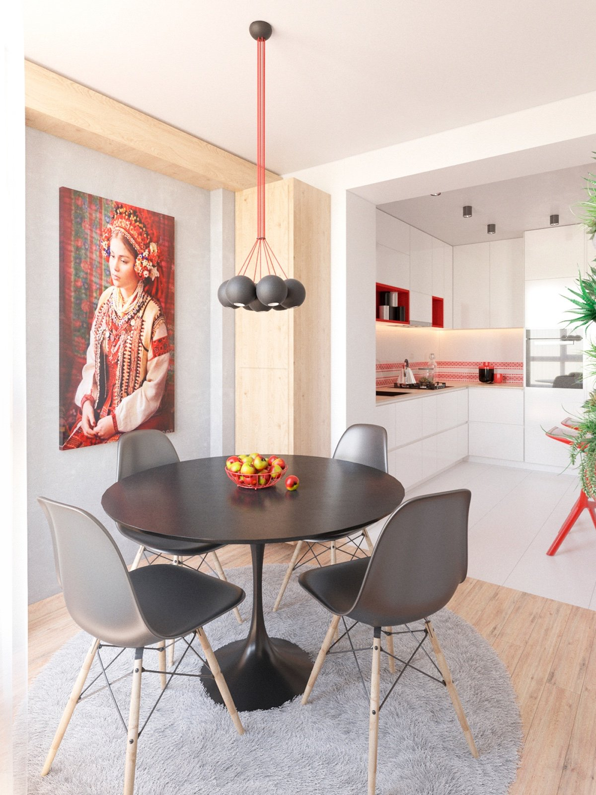 Eames Style Dining Chair Gray - 3 modern apartment interiors that masterfully demonstrate how to use red as an artistic accent