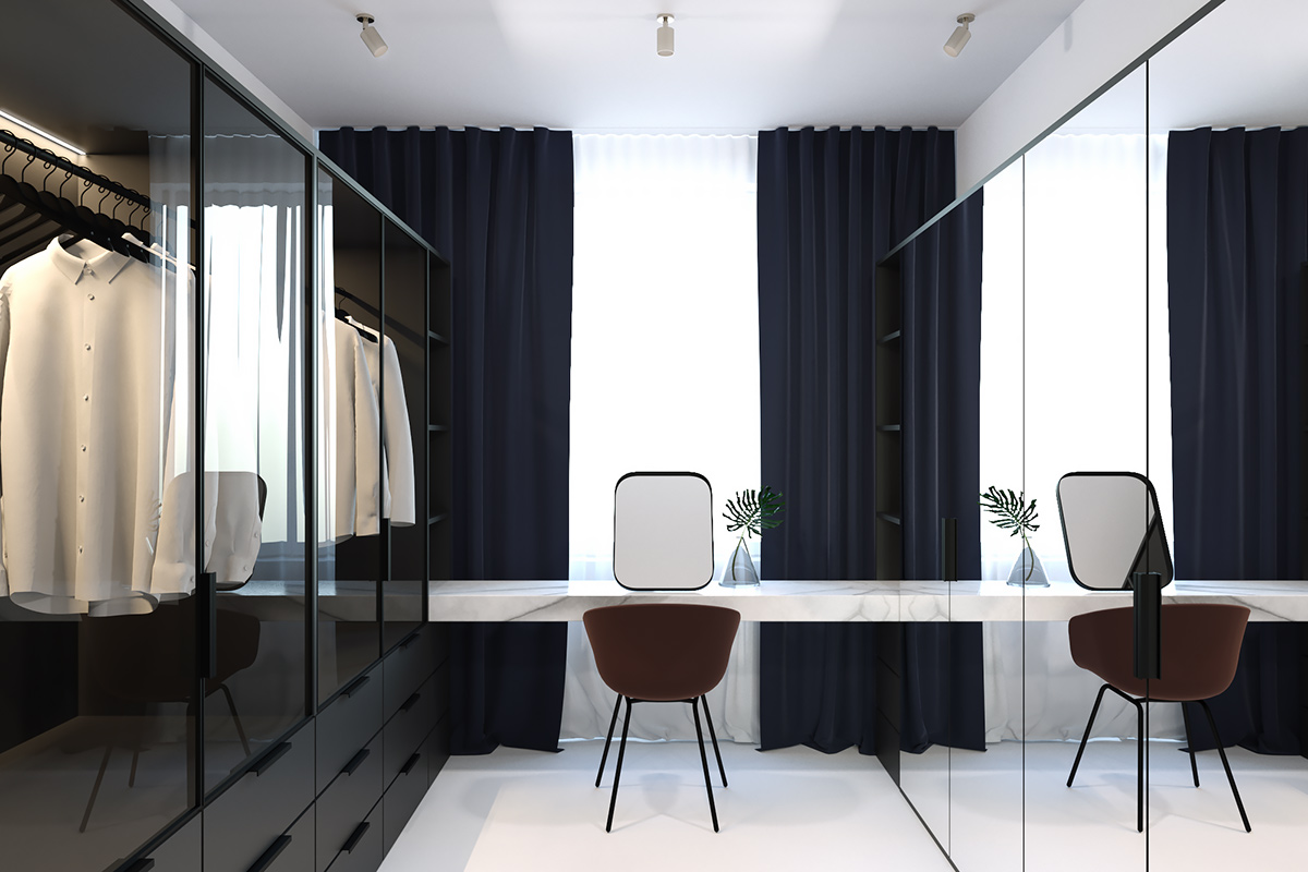 Elegant Modern Walk In Wardrobe Dark Glass Panelling - 3 light and bright apartments celebrating white space