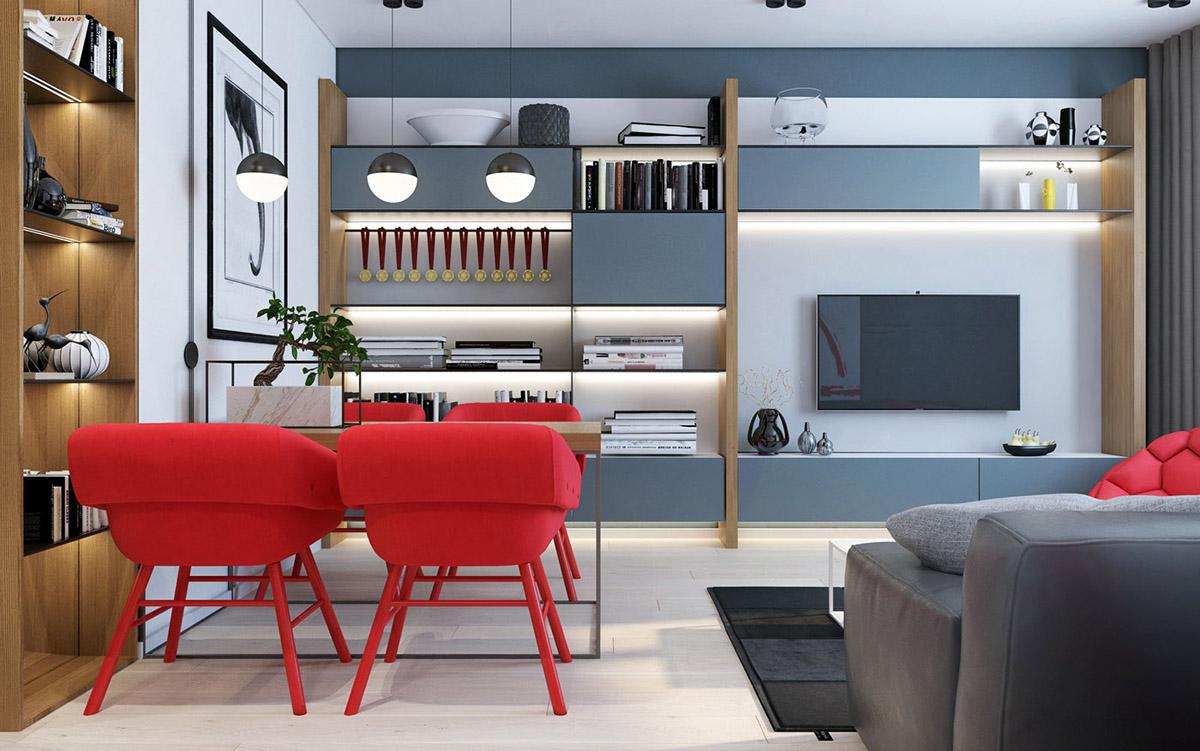 Gray Cabinetry - 3 modern apartment interiors that masterfully demonstrate how to use red as an artistic accent