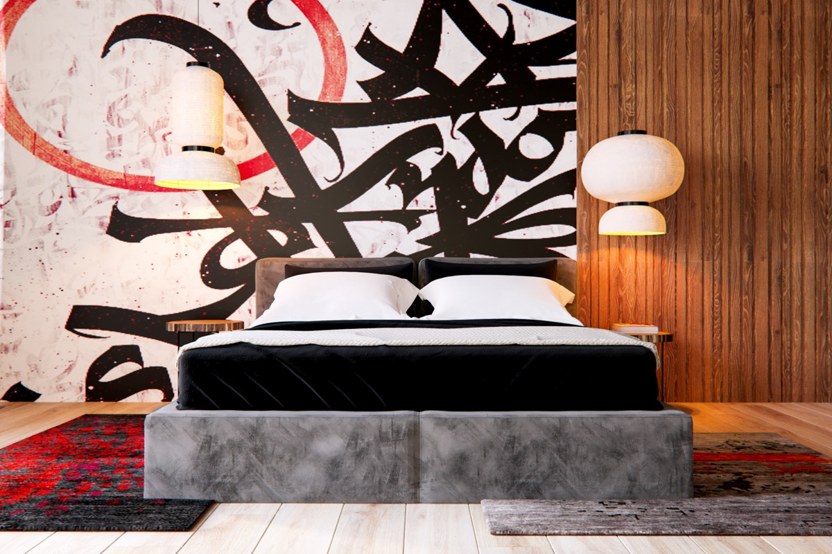 Gray Platform Bed - 3 modern apartment interiors that masterfully demonstrate how to use red as an artistic accent