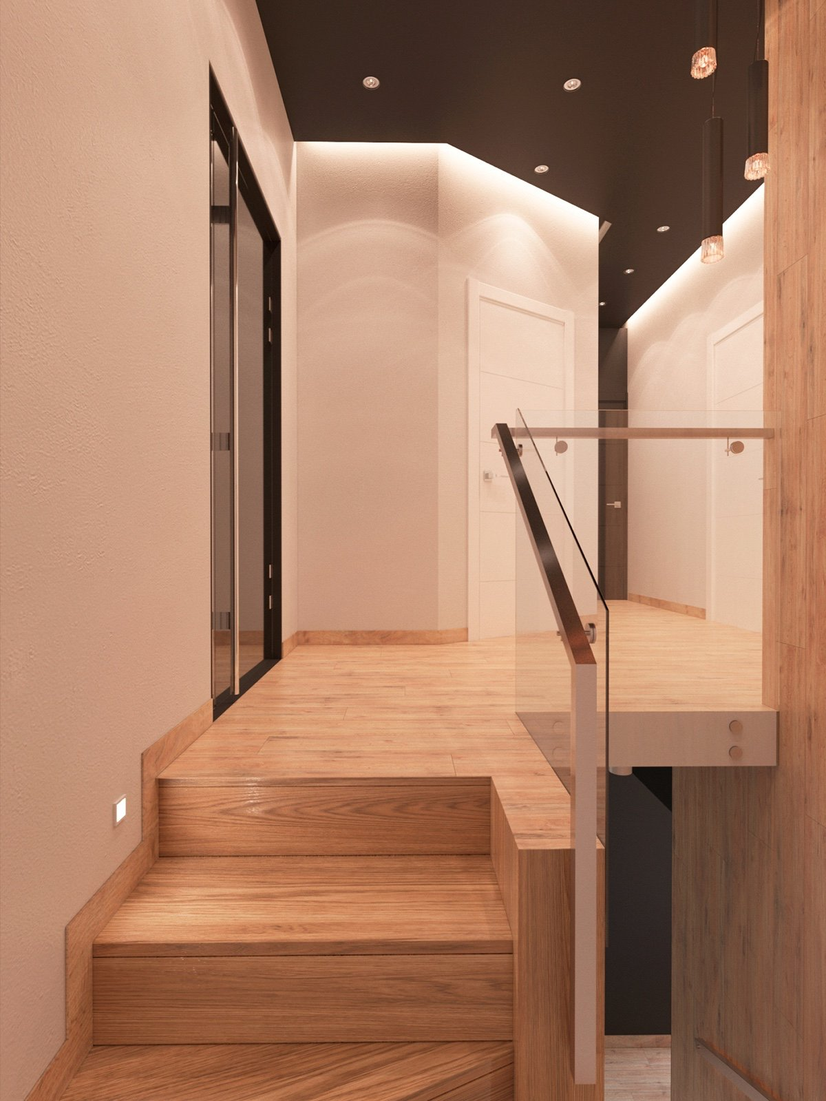 Hardwood Stairs - 3 modern apartment interiors that masterfully demonstrate how to use red as an artistic accent