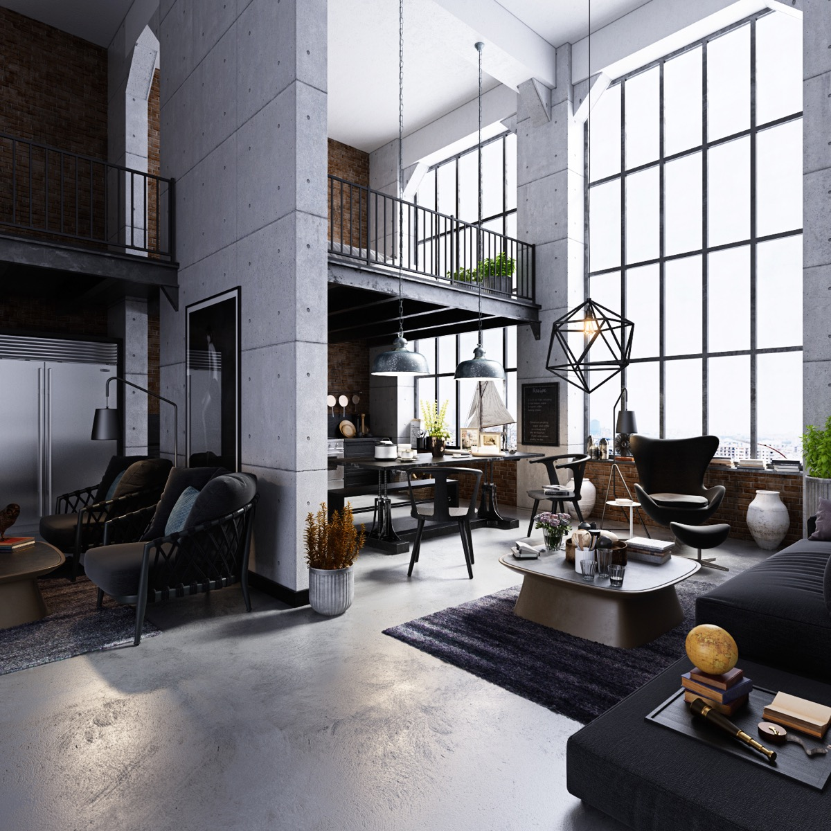 6 - Industrial Living Room Decor