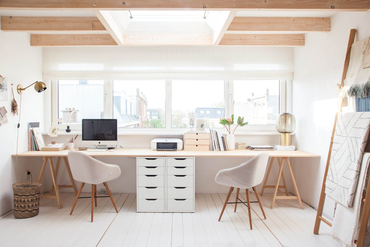 36 inspirational home office workspaces that feature 2 person desks rh home designing com 2 person desk home office furniture 2 person corner desk for home office